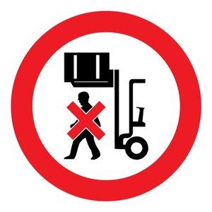 """pictogram """"verboden onder de last te lopen"""" sticker"""