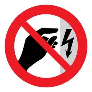 """pictogram """"niet aanraken"""" sticker"""