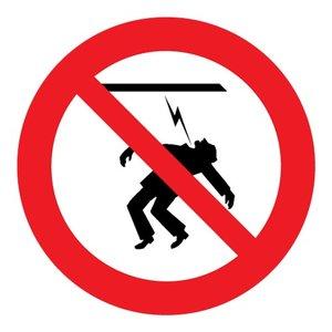 """pictogram """"hoogspanning! verboden aan te raken"""" sticker"""