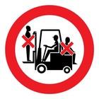 verboden mensen vervoeren op heftruck sticker