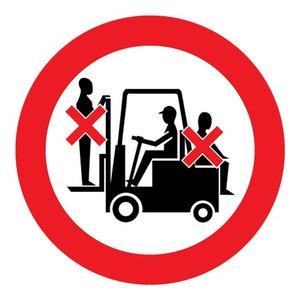 "pictogram ""verboden mensen vervoeren op heftruck"" sticker"