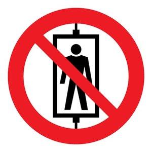 """pictogram """"lift voor personen verboden"""" sticker"""