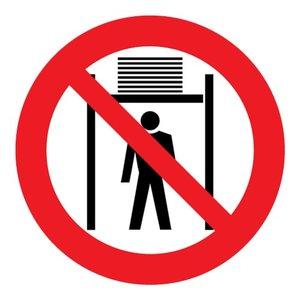 """pictogram """"verboden onder de lift te komen"""" sticker"""