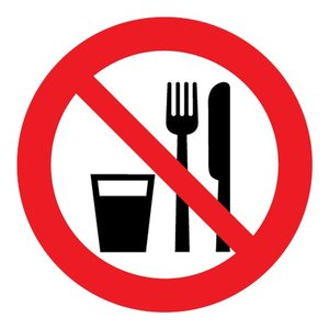 """pictogram """"verboden te eten en te drinken"""" sticker"""