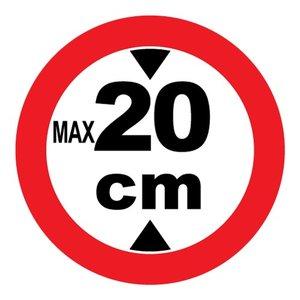 "pictogram ""max 20 cm"" sticker"