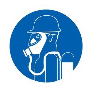 "pictogram ""volledige ademhalingsuitrusting verplicht"" sticker"