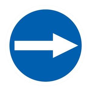 """pictogram """"verplichte richting"""" sticker"""