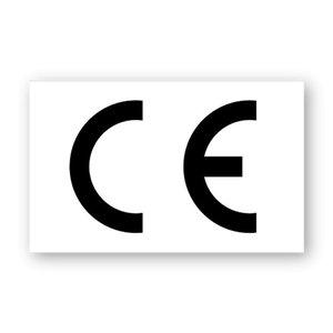 CE-sticker rechthoekig witte ondergrond, zwart logo