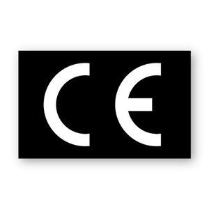 CE-sticker rechthoekig zwarte ondergrond, wit logo