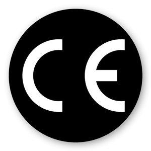 CE-sticker rond zwarte ondergrond, wit logo