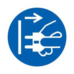 """pictogram """"stekker verwijderen verplicht"""" sticker"""