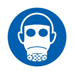 "pictogram ""gasmasker verplicht"" sticker"