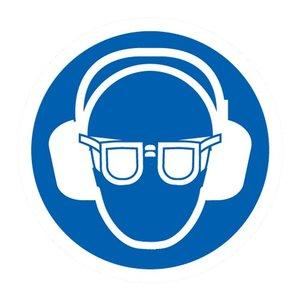 """pictogram """"oog en oorbescherming verplicht"""" sticker"""