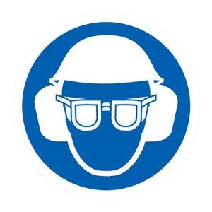 """pictogram """"oog oor en hoofdbescherming verplicht"""" sticker"""