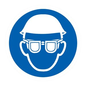 """pictogram """"oog en hoofdbescherming verplicht"""" sticker"""
