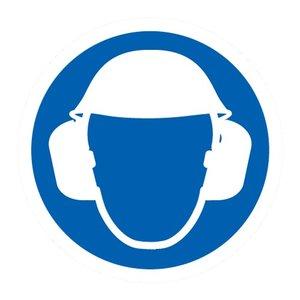 """pictogram """"hoofd en oorbescherming verplicht"""" sticker"""