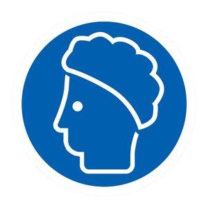"""pictogram """"haarbescherming verplicht"""" sticker"""