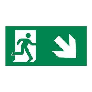 Nooduitgang sticker Vluchtwegaanduiding trap af rechts