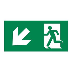 Nooduitgang sticker Vluchtwegaanduiding trap af links