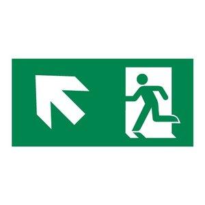 Nooduitgang sticker Vluchtwegaanduiding trap op links
