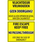 Vluchtdeur vrijhouden sticker