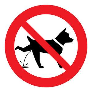 """pictogram """"verboden voor plassende honden"""" sticker"""