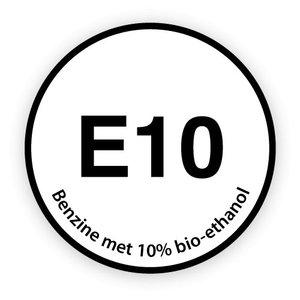 E10 brandstofsticker met uitleg
