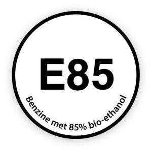 E85 brandstofsticker met uitleg