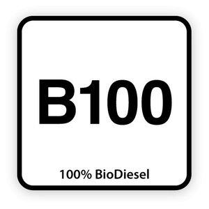 B100 brandstofsticker met uitleg (Diesel)
