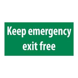 Nooduitgang sticker Keep emergency exit free