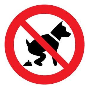 """pictogram """"verboden voor hondenpoep"""" sticker"""