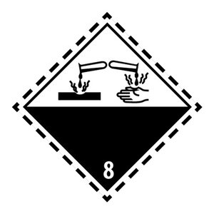 "ADR-8 pictogram ""bijtende (corrosieve) stoffen"""