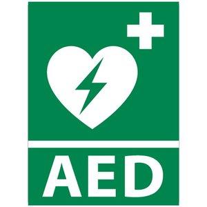 Nooduitgang sticker AED apparaat met tekst