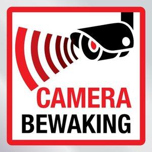 Beveiligingssticker camera bewaking vierkant