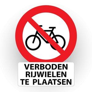 """pictogram """"verboden rijwielen te plaatsen - tekst"""" sticker"""