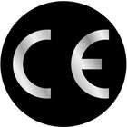 CE-sticker rond zwart/metallic zilver