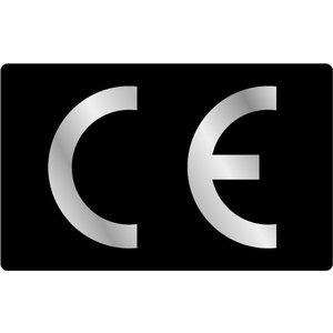 CE-sticker rechthoekig zwarte ondergrond, zilveren logo