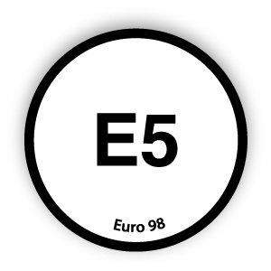 E5 brandstofsticker met uitleg