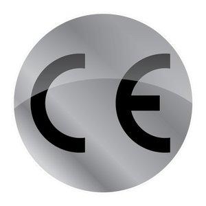 CE-sticker rond metallic zilveren ondergrond, zwart logo