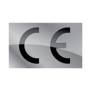 CE-sticker rechthoekig metallic zilveren ondergrond, zwart logo