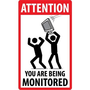 """pictogram """"You're being Monitored"""" sticker"""