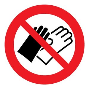 """pictogram """"verboden handschoenen te dragen"""" sticker"""