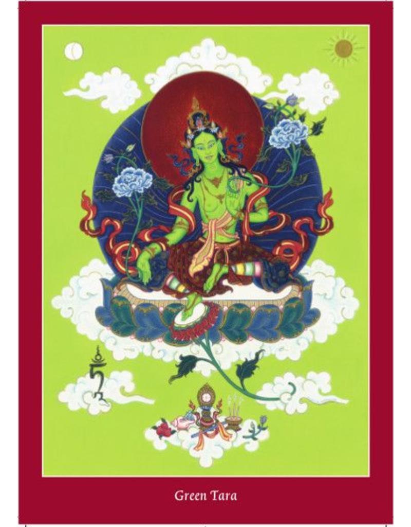 Tibetan Buddhist Art postkaart Groene Tara