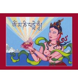 Tibetan Buddhist Art postcard Offering Goddess
