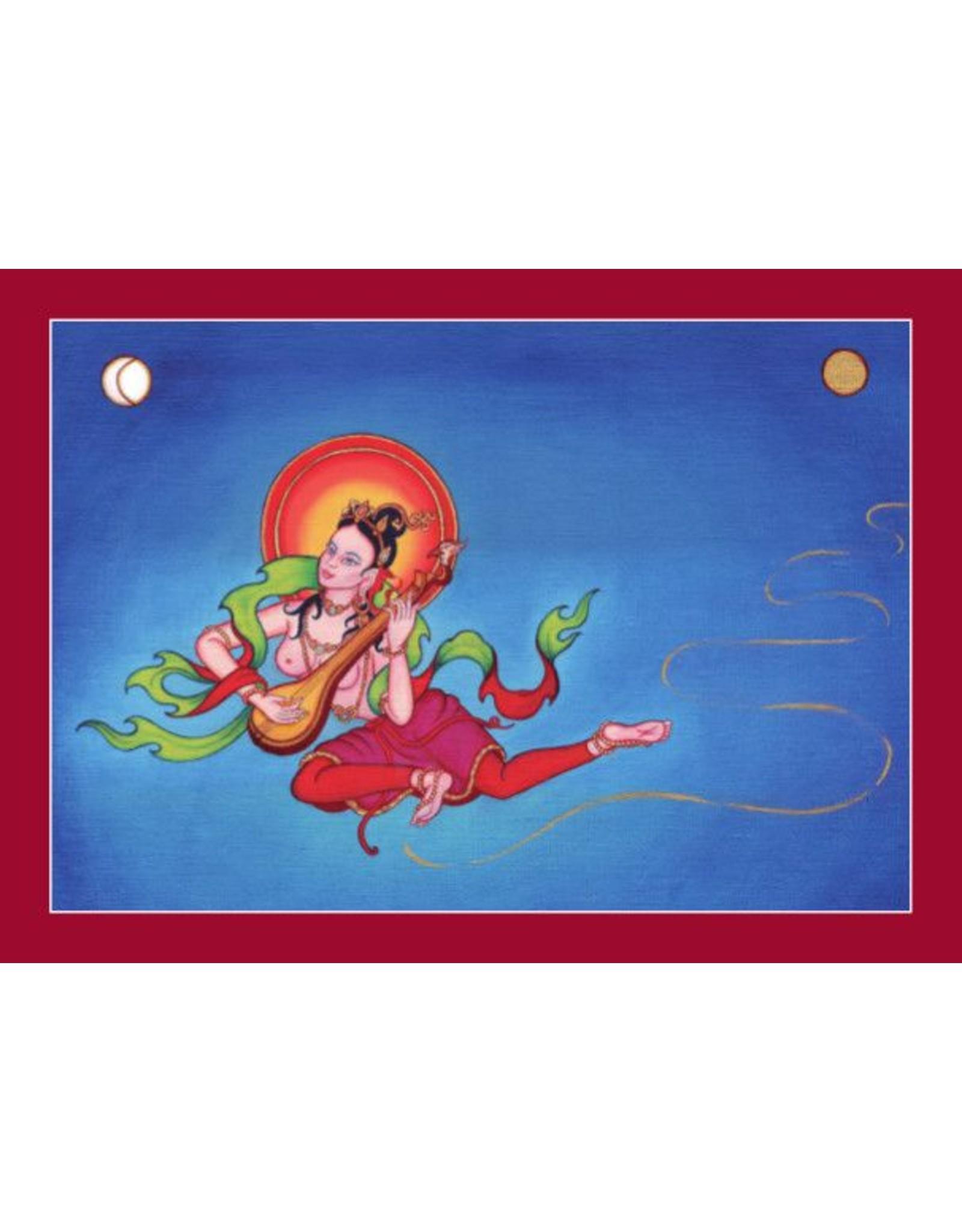 Tibetan Buddhist Art postcard Offering Goddess of Music