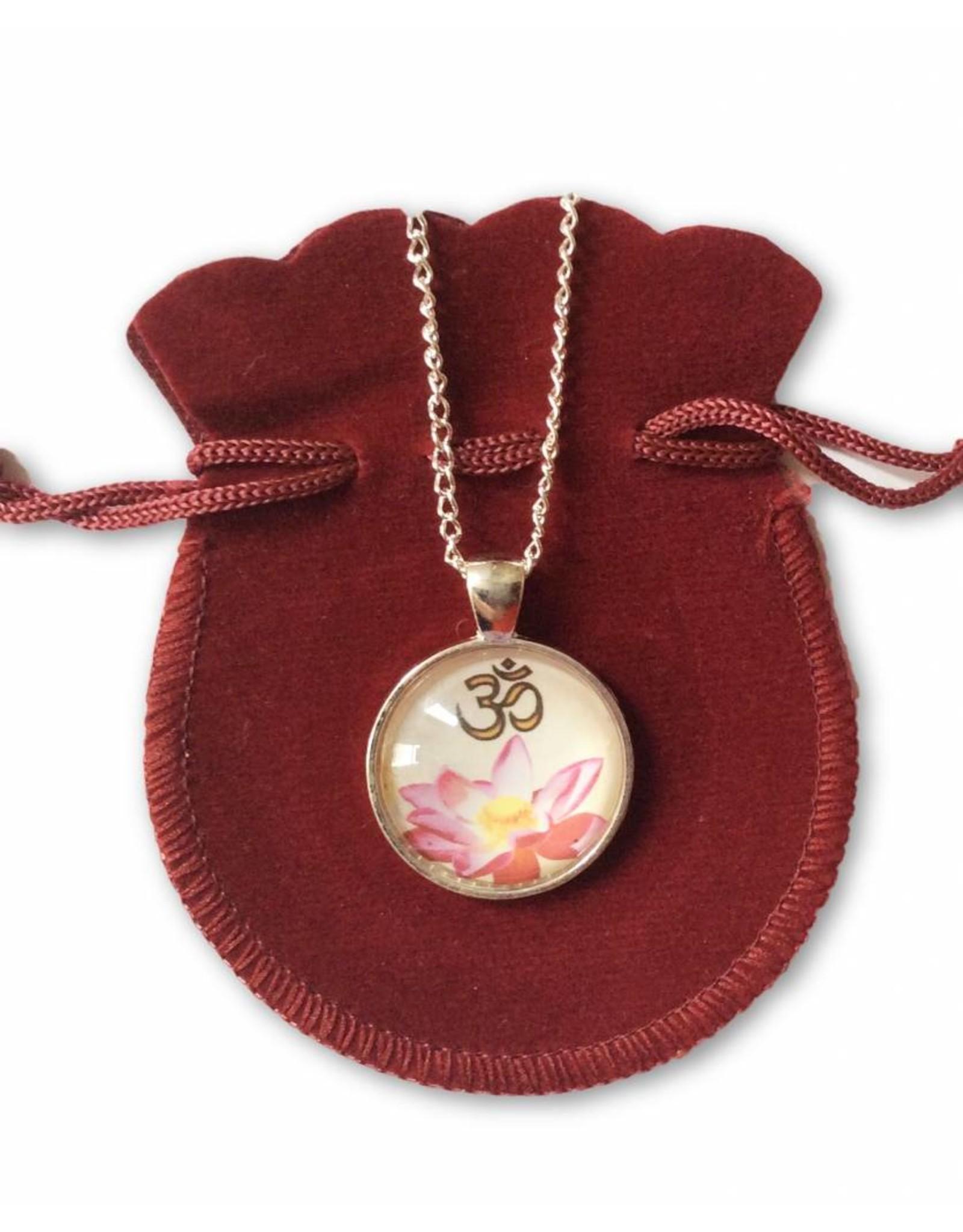 Tibetan Buddhist Art necklace Lotus Ohm purple white
