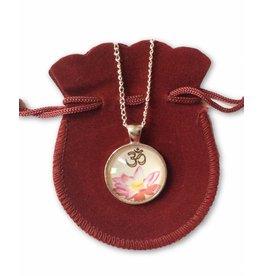 Tibetan Buddhist Art necklace Lotus Ohm white