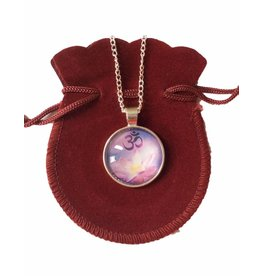 Tibetan Buddhist Art necklace Lotus Ohm purple