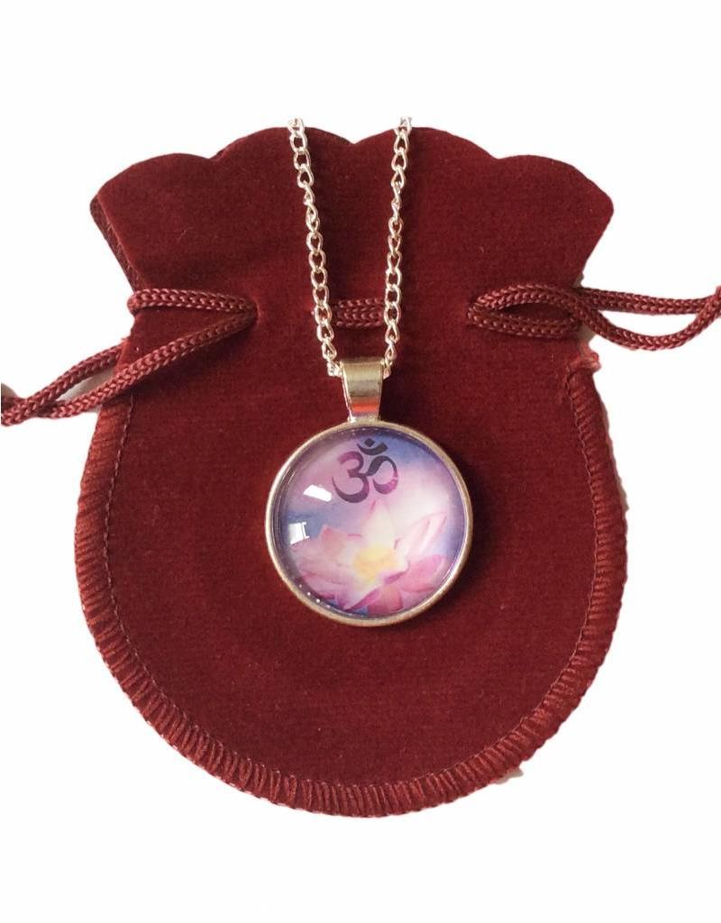 Tibetan Buddhist Art necklace Lotus Ohm purple