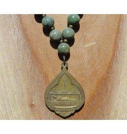 JewelryByM ketting bamboe steen & liggende Boeddha